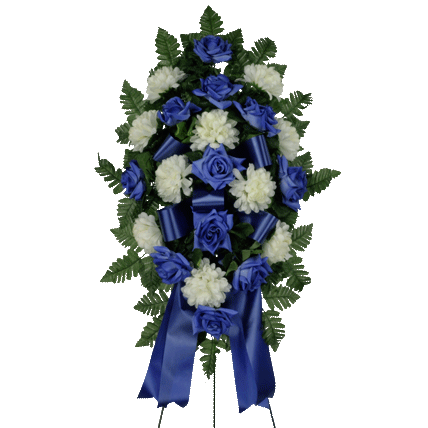Blue & White Artificial Sympathy Spray
